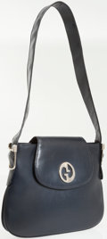 Luxury Accessories:Bags, Gucci Navy Leather Vintage Shoulder Bag with Silver Hardware. ...