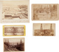 Western Expansion:Goldrush, Cabinet & Boudoir Cards: Five Pennsylvania Oil WellsPhotographs,... (Total: 5 Items)
