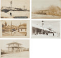 Transportation:Railroad, Real Photo Postcards: Five California Railroad Train Depot Scenes,... (Total: 5 Items)