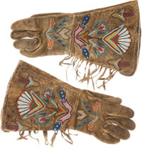 Beaded Leather Gauntlets: A Particularly Fine 19th Century Pair
