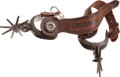 Western Expansion:Cowboy, Silver-Mounted Chihuahua Spurs Attributed to an ArkansasConfederate Veteran. ...