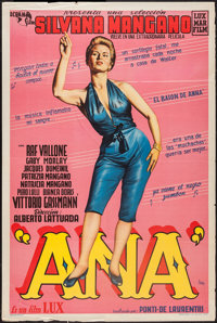 "Anna (Lux Film, 1954). Argentinean Poster (29"" X 43""). Romance"