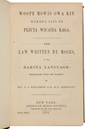 Western Expansion:Indian Artifacts, Rare Sioux-Language Bible Woopekin, Published in 1872. ...