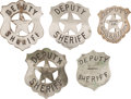 Western Expansion:Cowboy, Lot of Five Deputy Sheriff Badges.... (Total: 5 Items)