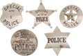 Western Expansion:Cowboy, Lot of Five Special Police Badges.... (Total: 5 Items)