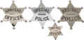 Western Expansion:Cowboy, Lot of Four Special Police Badges.... (Total: 4 Items)