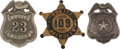 Western Expansion:Cowboy, Lot of Three Texas Police Department Badges.... (Total: 3 Items)