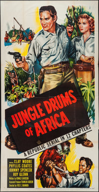 """Jungle Drums of Africa (Republic, 1952). Three Sheet (41"""" X 81""""). Serial"""