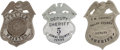 Western Expansion:Cowboy, Lot of Three Vintage Texas Law Enforcement Badges.... (Total: 3Items)