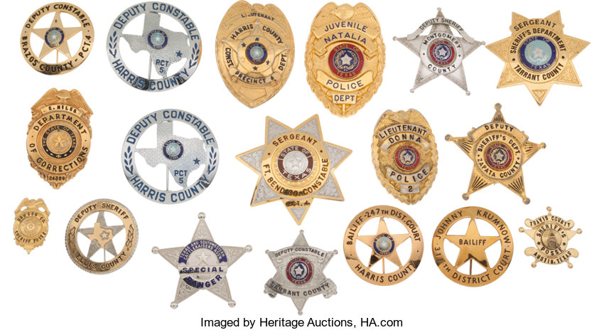 Large Lot of Eighteen Texas Law Enforcement Badges     (Total: 18