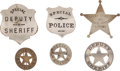 Western Expansion:Cowboy, Lot of Six Vintage, Mainly Texas, Law Enforcement Badges.... (Total: 6 Items)