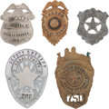 Western Expansion:Cowboy, Lot of Five Vintage Texas and Louisiana Law Enforcement Badges....(Total: 5 Items)