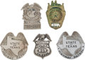 Western Expansion:Cowboy, Lot of Five Texas Law Enforcement Badges.... (Total: 5 Items)