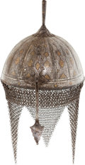Antiques:Antiquities, Scarce Silver & Gold Inlaid Indo-Persian Helmet.. ...