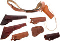 Arms Accessories:Holsters, Leather Shoulder Holster Cartridge Belt with Six Assorted Gun Holsters....