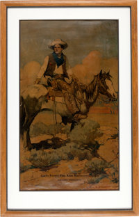 Framed Tex & Patches Colt Patent Firearms Advertising Print by Frank Schoonover
