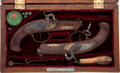 Handguns:Muzzle loading, Cased Pair of Reproduction of Philadelphia Derringers.... (Total: 2Items)