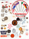 Miscellaneous, Large Lot of Forty Firearms-Related Pins, Buttons, and Fobs. ...