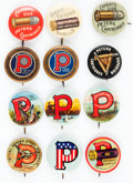 Miscellaneous, Lot of Twelve Peters Shells and Cartridges Advertising Buttons,Circa 1915-1920. ...