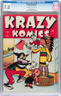Golden Age (1938-1955):Funny Animal, Krazy Komics #7 (Timely, 1943) CGC FN/VF 7.0 Off-white to whitepages....