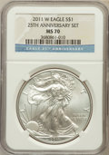 Modern Bullion Coins, 2011-W $1 Silver Eagle, 25th Anniversary Set MS70 NGC. NGC Census:(8498). PCGS Population (608). Numismedia Wsl. Price fo...