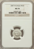 Modern Bullion Coins, 2007-W $10 Tenth-Ounce Platinum Eagle MS70 NGC. NGC Census: (372).PCGS Population (192). Numismedia Wsl. Price for proble...