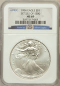 Modern Bullion Coins, 1996 $1 Year of 25 Silver Eagle MS69 NGC. NGC Census: (83741/128).PCGS Population (4876/0). Mintage: 3,603,386. Numismedia...