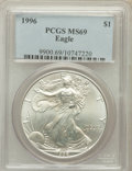 Modern Bullion Coins: , 1996 $1 Silver Eagle MS69 PCGS. PCGS Population (4876/0). NGCCensus: (83741/128). Mintage: 3,603,386. Numismedia Wsl. Pric...