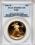 Modern Bullion Coins: , 1990-W G$50 One-Ounce Gold Eagle PR69 Deep Cameo PCGS. PCGSPopulation (3399/187). NGC Census: (1738/676). Mintage: 62,401....