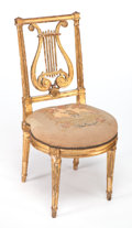 Furniture : French, A FRENCH LOUIS XVI-STYLE GILT WOOD SIDE CHAIR . Circa 1890. 34-1/2 x 16-1/2 x 17-1/2 inches (87.6 x 41.9 x 44.5 cm). ...