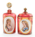Decorative Arts, Continental, A BOHEMIAN ENAMELED AND GILT GLASS JAR AND BOTTLE . Circa 1890.Marks to bottle: S. 6-1/4 inches high (15.9 cm) (bottle)...(Total: 4 Items)