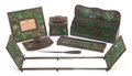 , A SIX PIECE ASSEMBLED TIFFANY STUDIOS PATINATED BRONZE AND SLAGGLASS DESK SET IN THE PINE NEEDLE AND GRAPEV... (Total: 7Items)