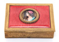 Decorative Arts, French, A FRENCH ENAMELED, GILT METAL AND GLASS BOX . Circa 1880. Marks:FRANCE. Signed: A.C.. 1-1/8 x 4-1/4 x 3-1/4 inches...