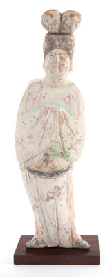 A CHINESE TANG DYNASTY PAINTED POTTERY COURT LADY Circa 618-907 A.D. 12-1/2 inches high (31.8 cm)  PROPER