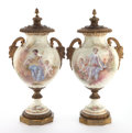 Ceramics & Porcelain, A PAIR OF FRENCH SÈVRES-STYLE PORCELAIN AND GILT BRONZE URNS DECORATED BY DEMONCEAUX . Circa 1860. Signed: M. Demonceaux... (Total: 2 Items)