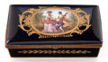 Ceramics & Porcelain, A FRENCH LOUIS XV-STYLE PORCELAIN AND GILT BRONZE BOX . Circa 1900. Marks: (interlaced L's within circle). Signed: A. Max...