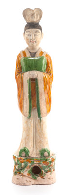 A CHINESE TANG DYNASTY SANCAI-GLAZED POTTERY FIGURE Circa 618-907 A.D. 26-1/4 inches high (66.7 cm)  PRO