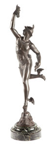 Bronze:European, A PATINATED BRONZE FIGURE AFTER JEAN DE BOLOGNE (Belgian,1580-1664): WINGED MERCURY . Circa 1900. 31-5/8 incheshig...