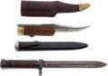 Edged Weapons:Knives, Lot of One Folding Bowie Knife and One Folding Italian Bayonet.... (Total: 2 Items)
