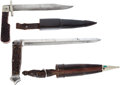 Edged Weapons:Knives, Lot of Two Folding Bowie Knives with Scabbards.... (Total: 2 Items)