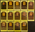 Baseball Collectibles:Others, Collection of 14 Signed Yellow Hall of Fame Postcards. ...