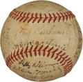 Baseball Collectibles:Balls, 1949 Cleveland Indians Team Signed Baseball With Satchel Paige. ...