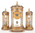 Decorative Arts, French:Other , A THREE PIECE FRENCH GILT BRONZE, CLOISONNÉ AND CHAMPLEVÉ ENAMELCLOCK GARNITURE . Maker unknown, France, circa 1875. Marks ...