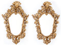 Furniture : Continental, A PAIR OF FLORENTINE ROCOCO-STYLE CARVED GILT WOOD MIRRORS . Makerunknown, Florence, Italy, circa 1920. 55 x 36 x 4 inches ...(Total: 2 Items)