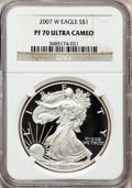 Modern Bullion Coins, 2007-W $1 Silver Eagle PR70 Ultra Cameo NGC. NGC Census: (7038).PCGS Population (1608). Numismedia Wsl. Price for problem...