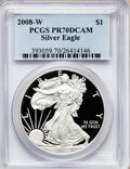 Modern Bullion Coins, 2008-W $1 Silver Eagle PR70 Deep Cameo PCGS. PCGS Population(1039). NGC Census: (11950). Numismedia Wsl. Price for proble...