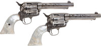 Rare and Historic Consecutively Numbered and Factory Engraved Pair of First Generation Colt Single Action Revolvers Attr...