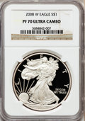 Modern Bullion Coins, 2008-W $1 Silver Eagle PR70 Ultra Cameo NGC. NGC Census: (11950).PCGS Population (1039). Numismedia Wsl. Price for proble...