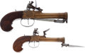 Handguns:Muzzle loading, Pair of Unmarked Boxlock Brass-Barreled Blunderbuss Pistols withSpring-Loaded Bayonets.... (Total: 2 Items)