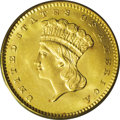 Gold Dollars: , 1864 G$1 MS66 PCGS. The 1864 gold dollar is an important Civil Warissue that had a mintage of just 5,900 coins. Although t...